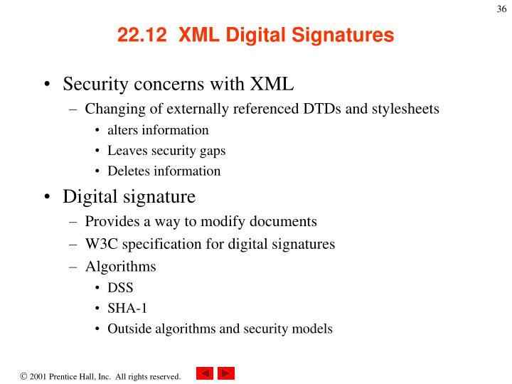 22.12  XML Digital Signatures