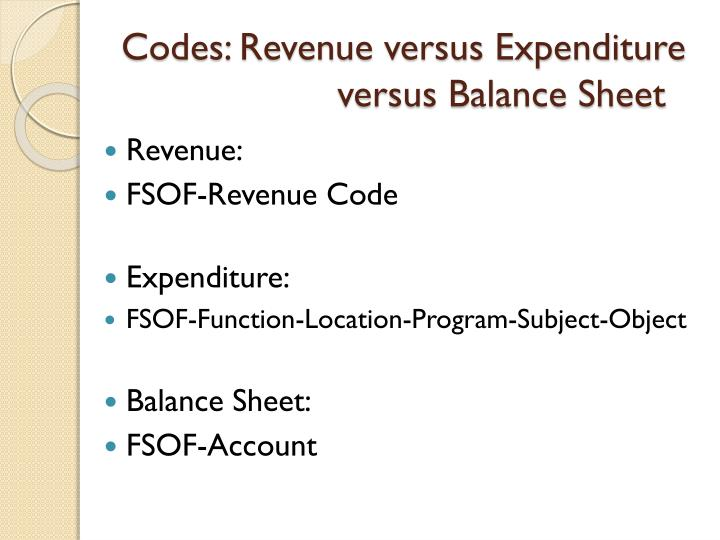 Codes: Revenue versus Expenditure versus Balance Sheet