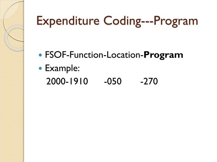 Expenditure Coding---Program