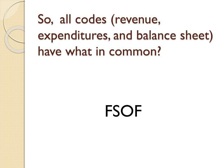 So,  all codes (revenue, expenditures, and balance sheet) have what in common?