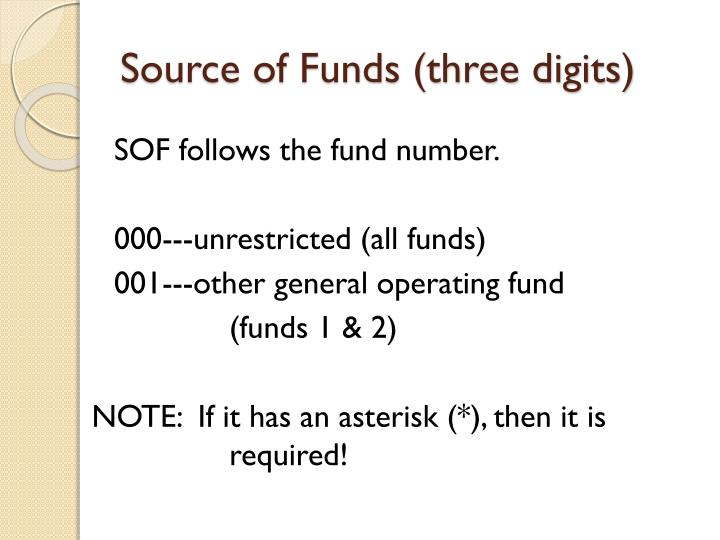 Source of Funds (three digits)