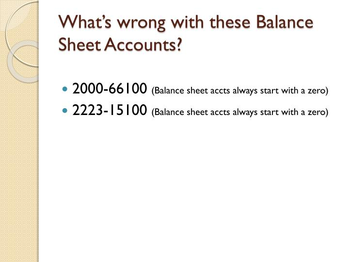 What's wrong with these Balance Sheet Accounts?