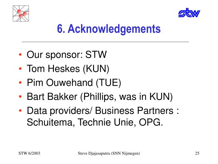 6. Acknowledgements