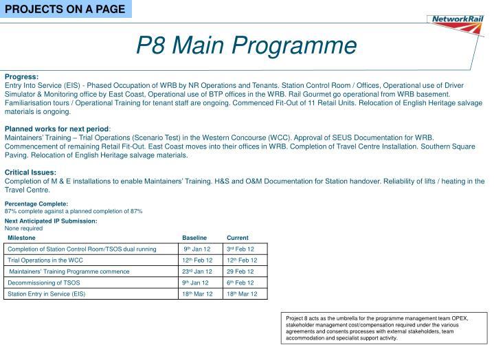 P8 Main Programme