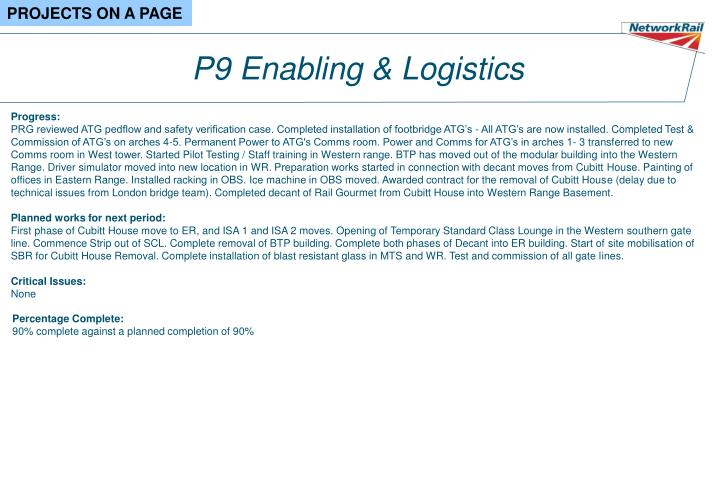 P9 Enabling & Logistics
