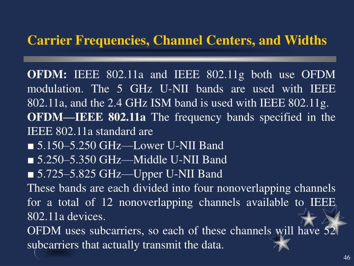 Carrier Frequencies, Channel Centers, and Widths