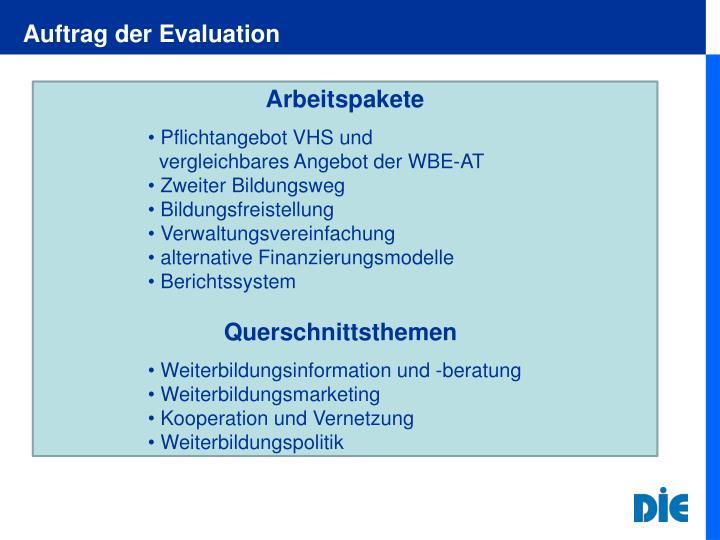 Auftrag der Evaluation