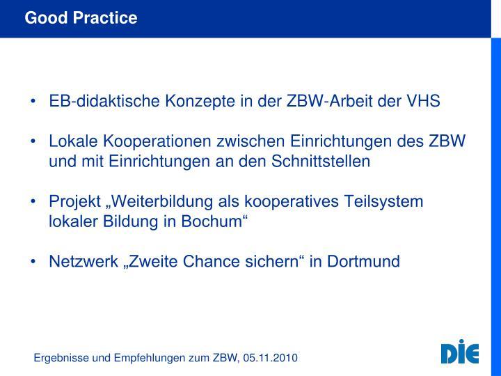EB-didaktische Konzepte in der ZBW-Arbeit der VHS