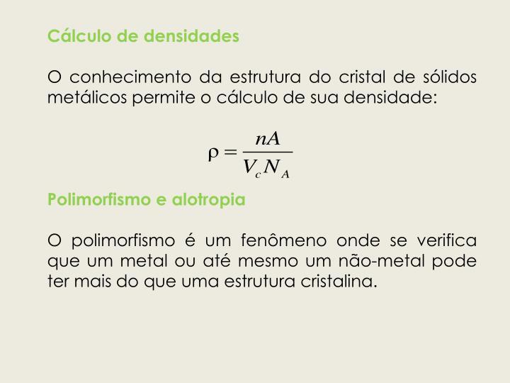 Cálculo de densidades