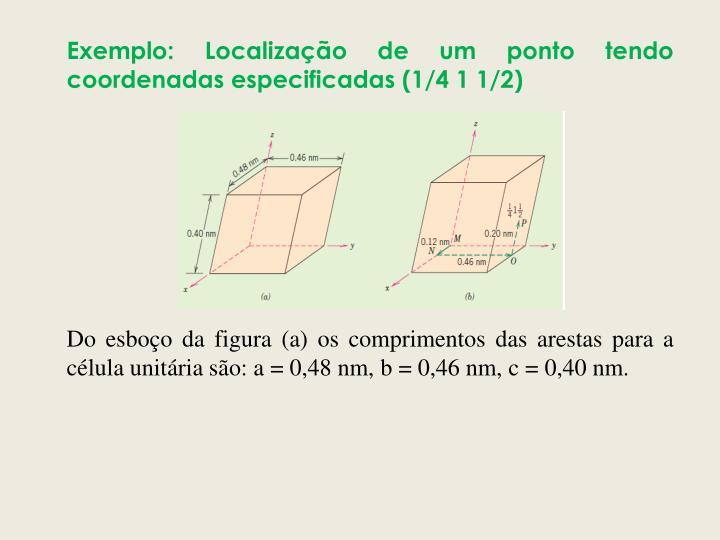 Exemplo: Localização de um ponto tendo coordenadas especificadas (1/4 1 1/2)