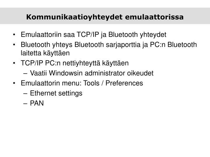 Kommunikaatioyhteydet emulaattorissa