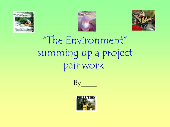 the environment summing up a project pair work