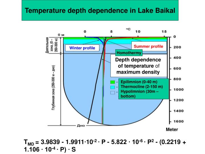 Temperature depth dependence in Lake Baikal