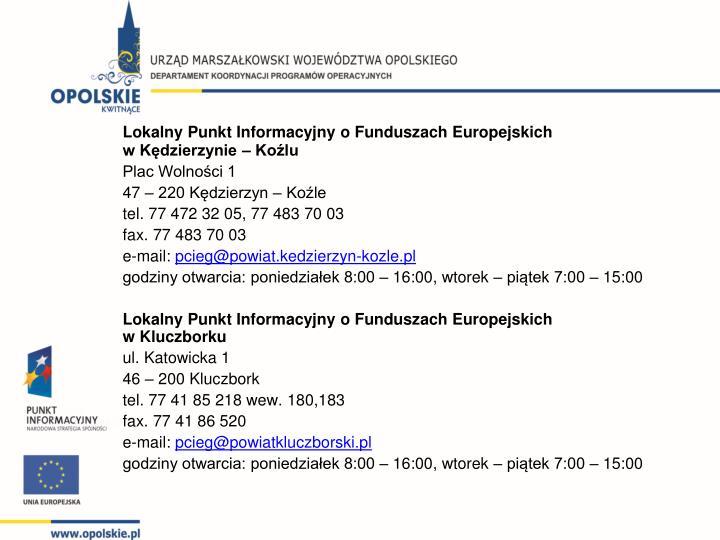 Lokalny Punkt Informacyjny o Funduszach Europejskich