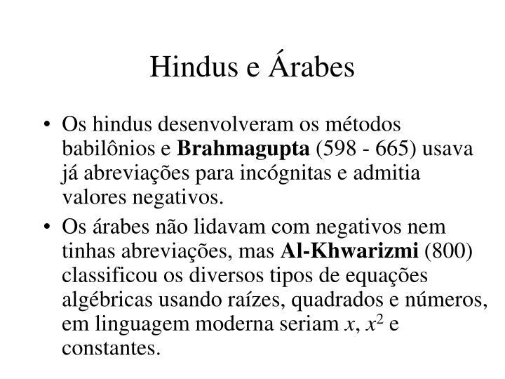 Hindus e Árabes