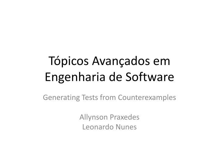 Tópicos Avançados em Engenharia de Software