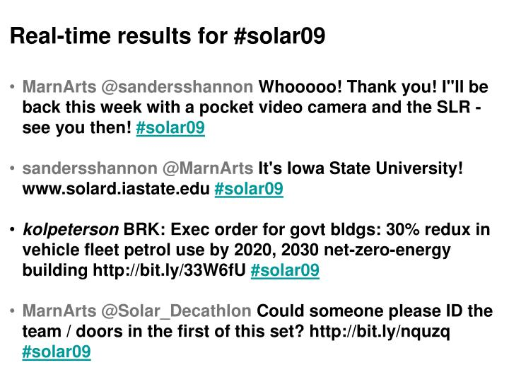 Real-time results for #solar09