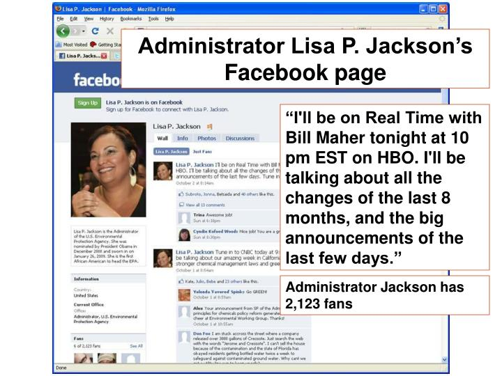 Administrator Lisa P. Jackson's Facebook page