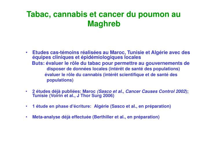 Tabac, cannabis et cancer du poumon au