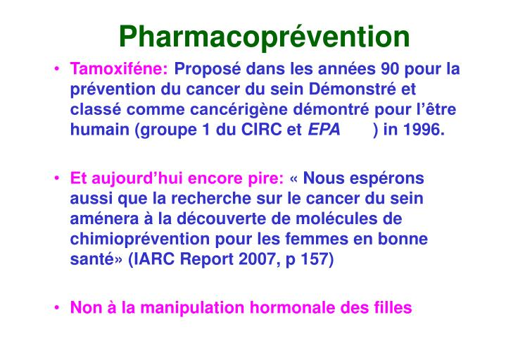Pharmacoprévention