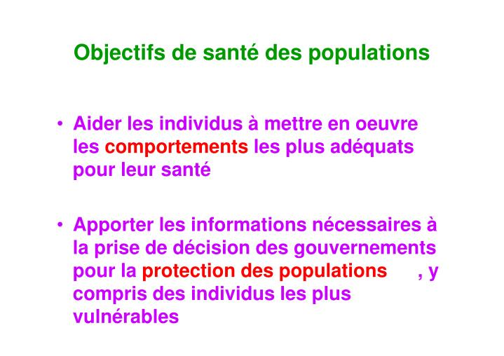 Objectifs de santé des populations