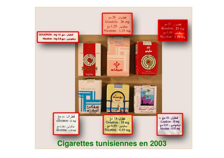Cigarettes tunisiennes en 2003