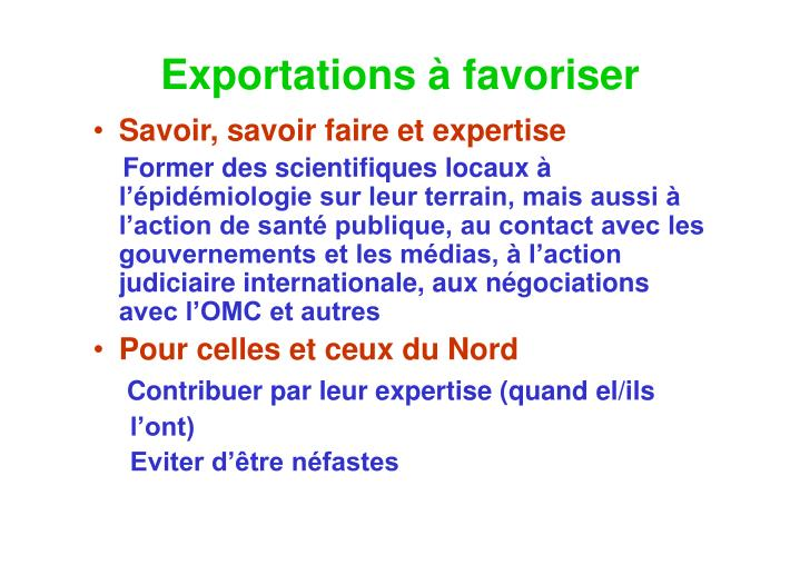 Exportations à favoriser
