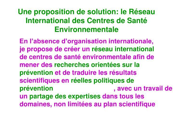 Une proposition de solution: le Réseau