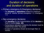 duration of decisions and duration of operations