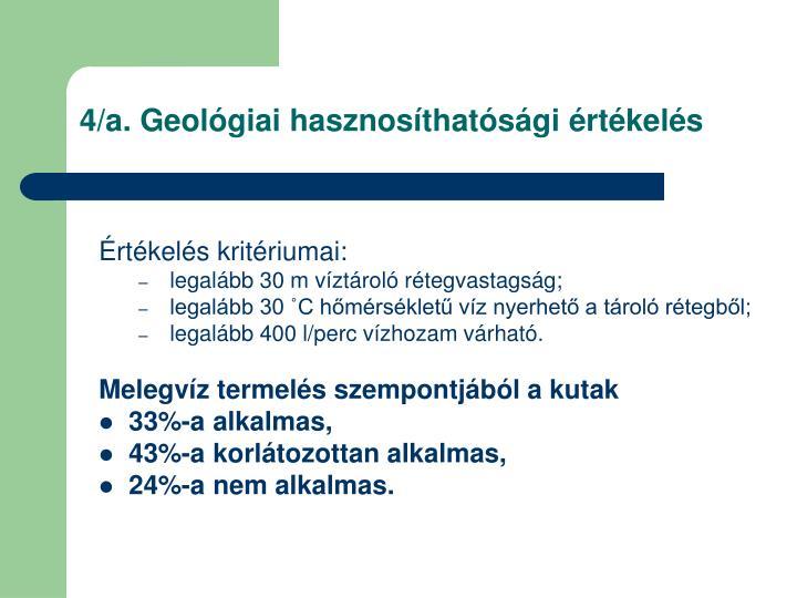 4/a. Geológiai hasznosíthatósági értékelés