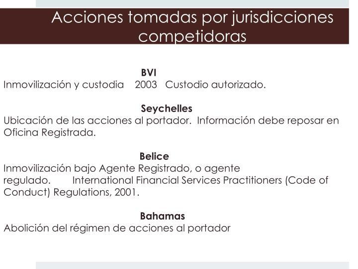 Acciones tomadas por jurisdicciones competidoras