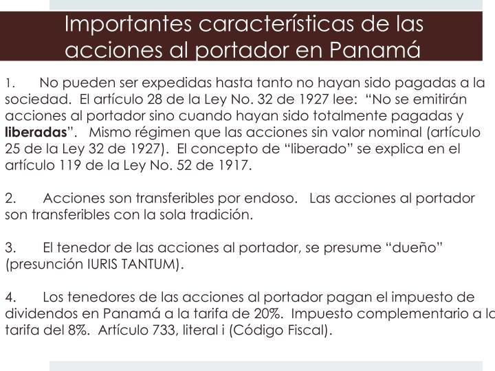 Importantes características de las acciones al portador en Panamá