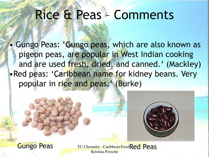 Rice & Peas – Comments