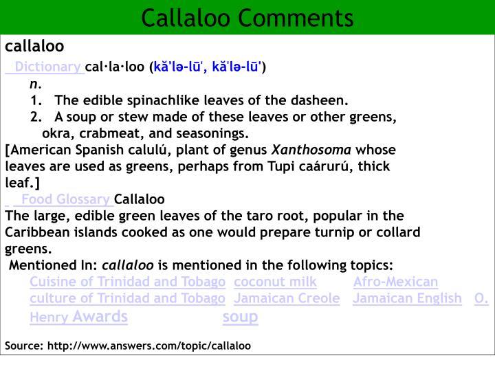 Callaloo Comments