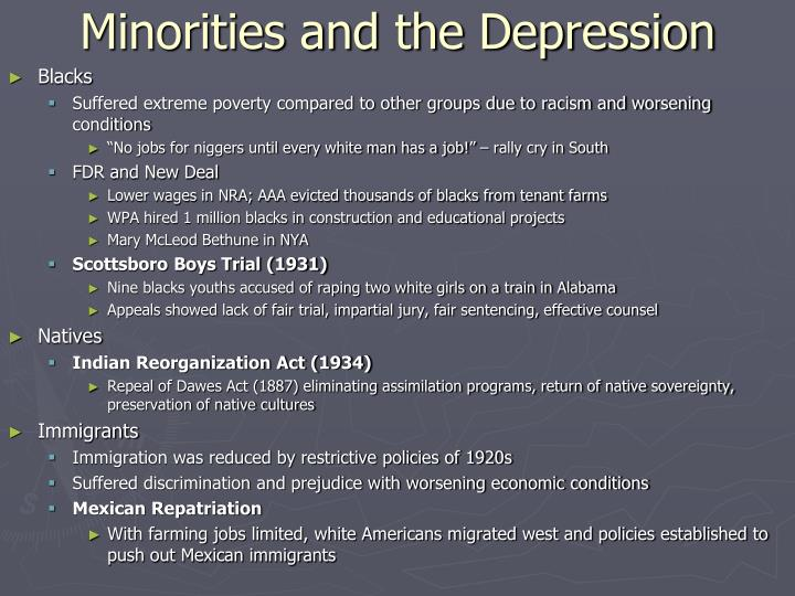 Minorities and the Depression