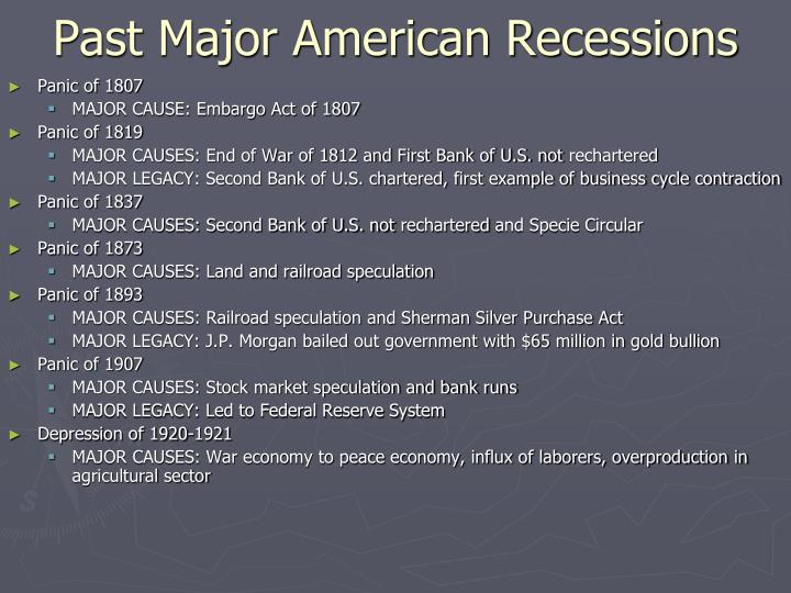 Past Major American Recessions