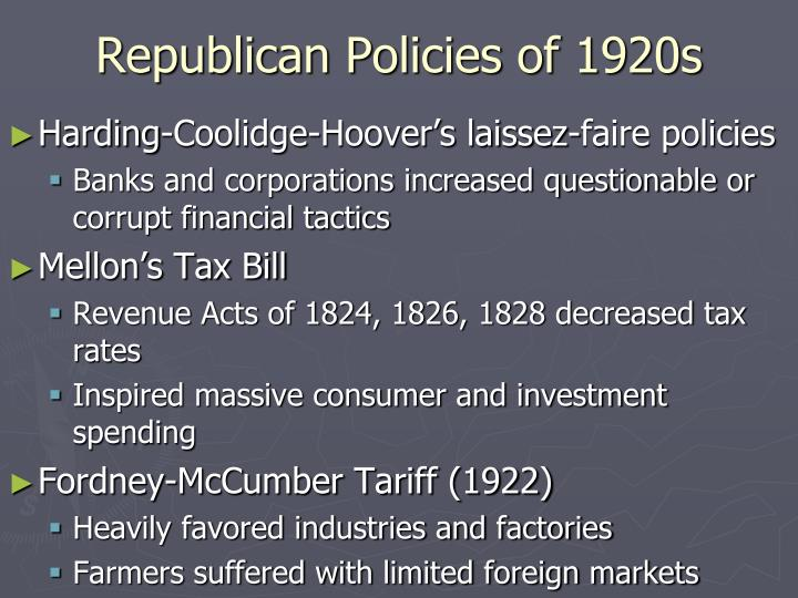 Republican Policies of 1920s
