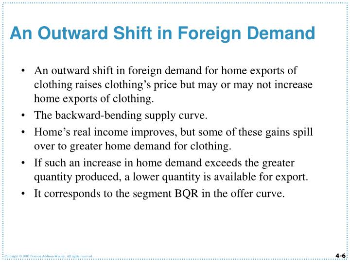 An outward shift in foreign demand for home exports of clothing raises clothing's price but may or may not increase home exports of clothing.
