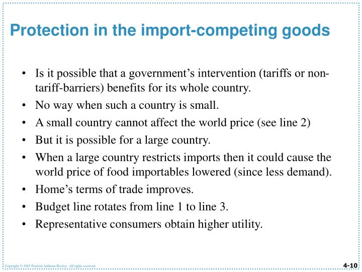 Is it possible that a government's intervention (tariffs or non-tariff-barriers) benefits for its whole country.