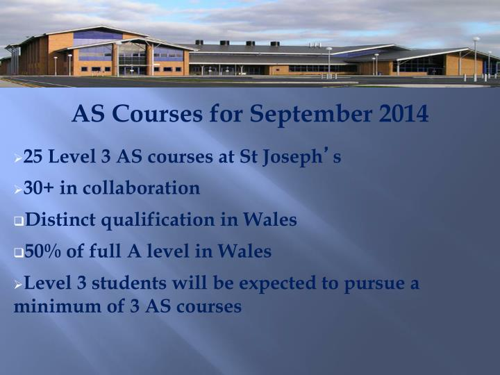 AS Courses for September 2014