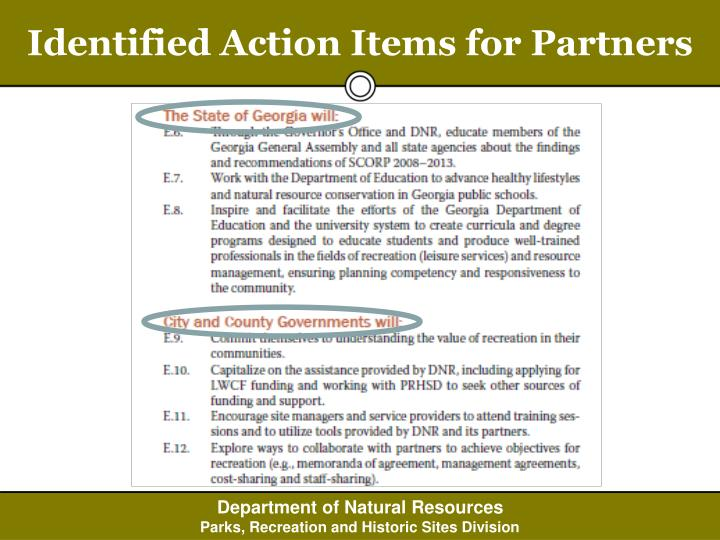 Identified Action Items for Partners