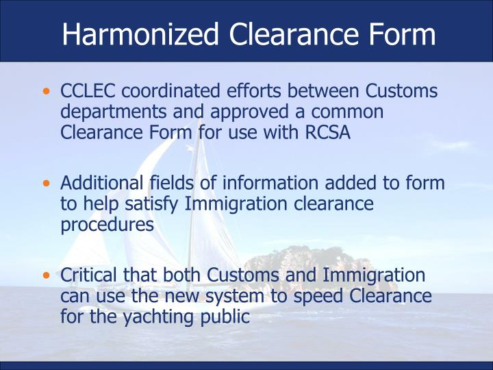 Harmonized Clearance Form