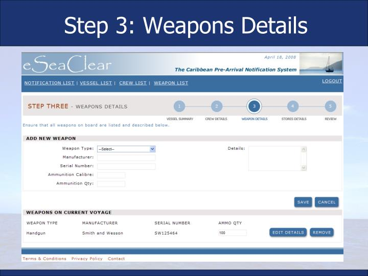 Step 3: Weapons Details