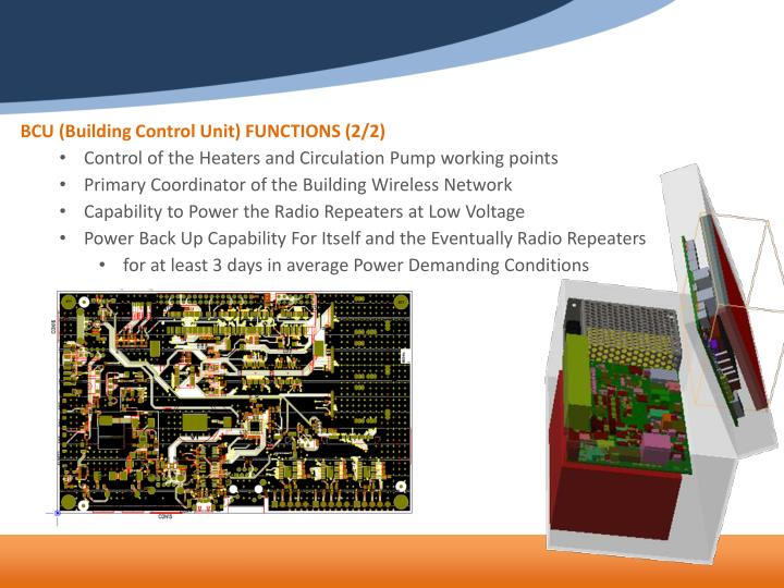 BCU (Building Control Unit) FUNCTIONS (2/2)