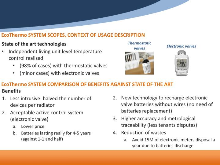 EcoThermo SYSTEM SCOPES, CONTEXT OF USAGE DESCRIPTION