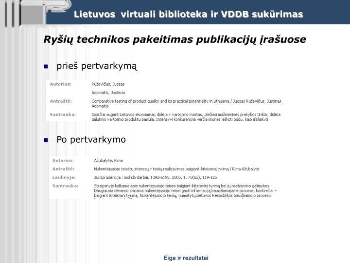 Ryšių technikos pakeitimas publikacijų įrašuose