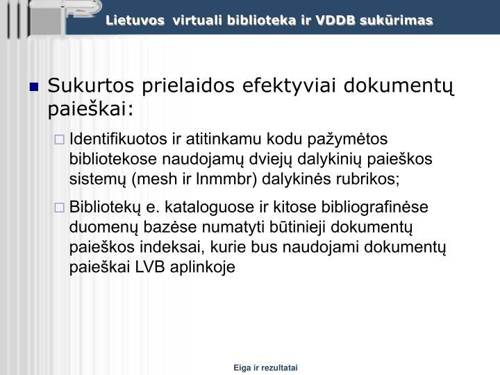 Sukurtos prielaidos efektyviai dokumentų paieškai: