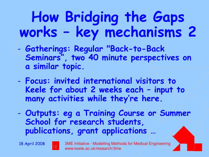 How Bridging the Gaps works – key mechanisms 2