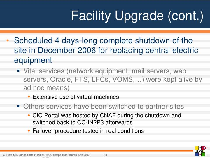 Facility Upgrade (cont.)
