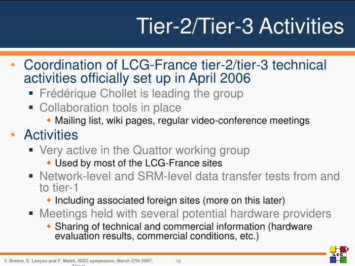 Tier-2/Tier-3 Activities
